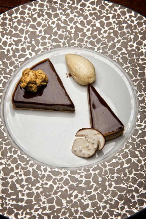 Tarte chocolat & Cèpes et sa glace vanille bourbon.